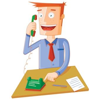 Zittende man belt op de telefoon
