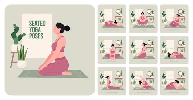 Zittende yogahoudingen jonge vrouw die yogahoudingen beoefent