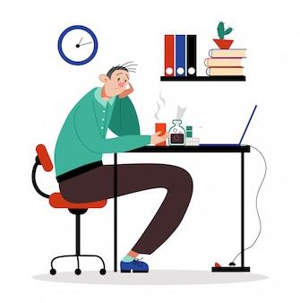 Zitting van het beambte de mannelijke karakter met hoofdpijn, mens drinkt de medische hoest van de drug therapeutische infusie op wit, illustratie.