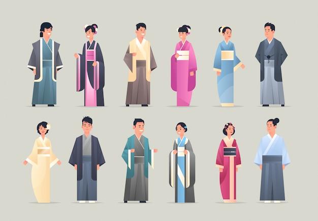 Zoals aziatische mannen, vrouwen die traditionele kleding dragen, glimlachende mensen in nationale oude kostuums, staande pose, chinese of japanse mannelijke vrouwelijke stripfiguren, volledige lengte, vlak en horizontaal