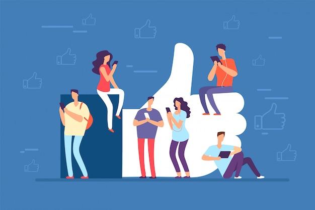 Zoals concept. mensen met telefoons op grote duimen omhoog, zoals pictogram. sociale media gemeenschap vector achtergrond