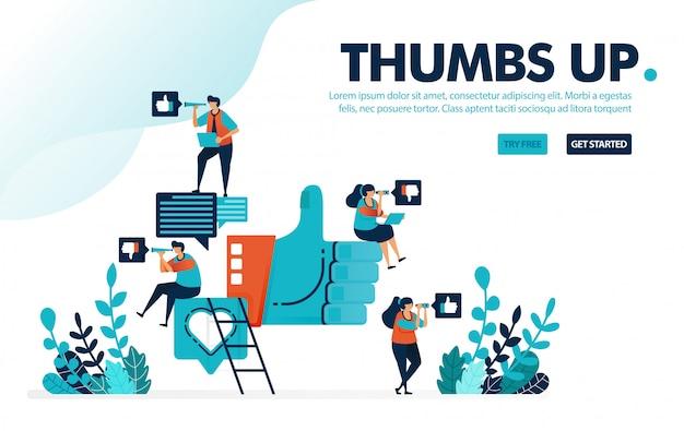Zoals & duim omhoog, mensen geven een duim omhoog, houden van en houden van reacties op sociale media.