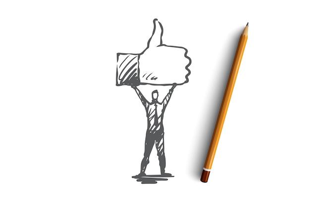 Zoals, symbool, goed, netwerk, vingerconcept. hand getekend persoon houdt symbool van als concept schets.
