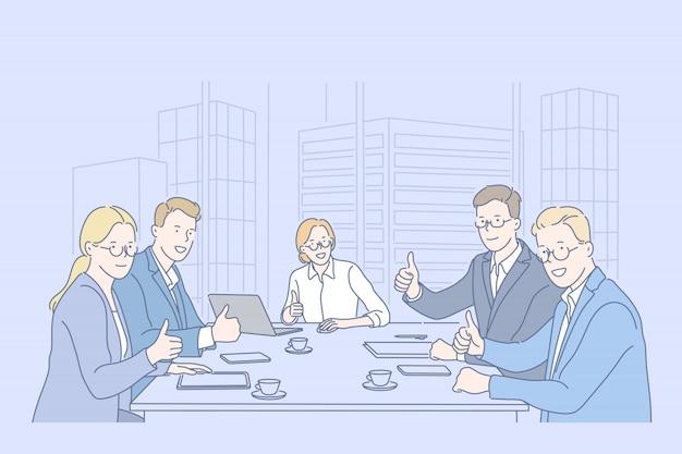 Zoals, teamwerk, zaken, teamconcept