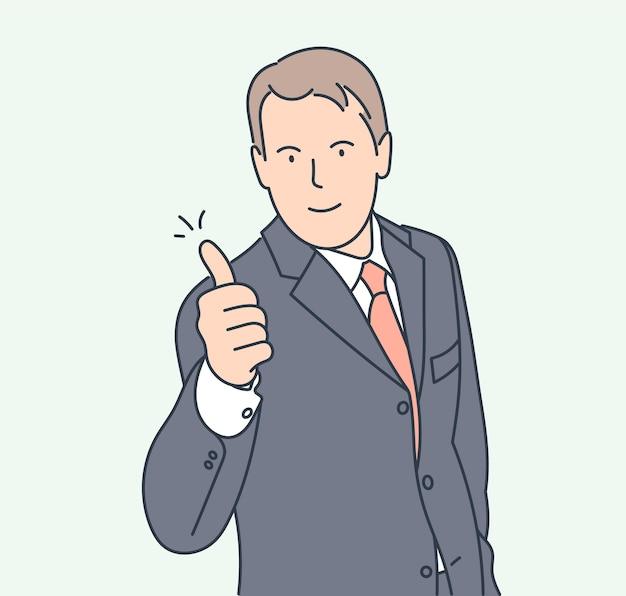 Zoals teken, vreugde, goedkeuring, geluksconcept. de glimlachende zekere zakenman beduimelt omhoog.