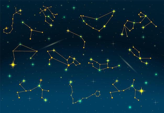 Zodiac sterrenbeelden. 12 sterrenbeelden van de dierenriem op donkere nachthemel