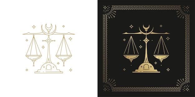 Zodiac weegschaal horoscoop teken lijntekeningen silhouet ontwerp illustratie