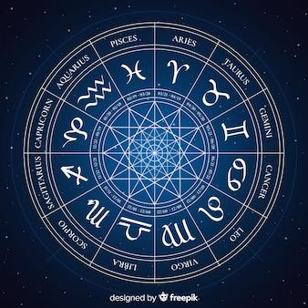 Zodiac-wiel op een ruimteachtergrond