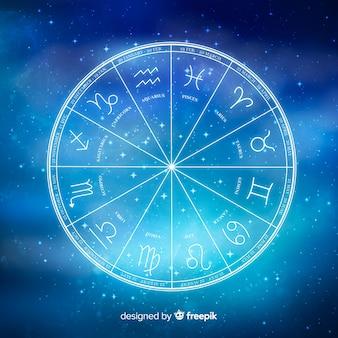 Zodiac-wiel op ruimteachtergrond