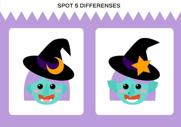 Zoek 5 verschillen. gelukkig halloween-spel. heks onderwijsspel voor kinderen. werkblad voor kinderen. vector.