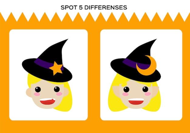 Zoek 5 verschillen. gelukkig halloween-spel. little witch education game voor kinderen. werkblad voor kinderen.