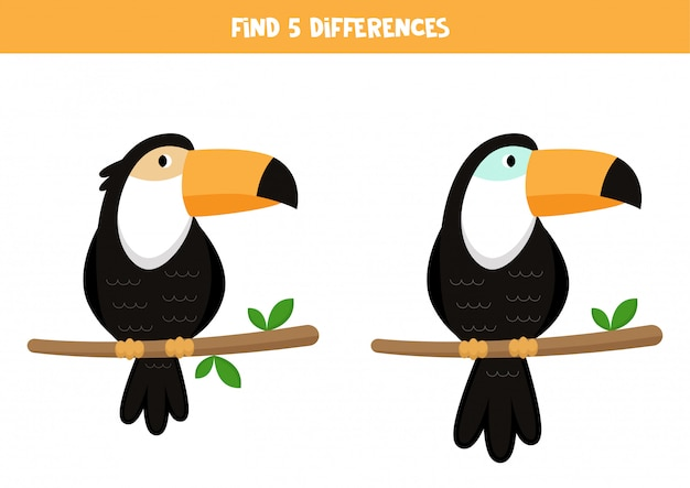 Zoek 5 verschillen. leuke cartoon toekans. spel voor kinderen.