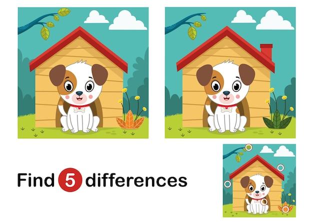 Zoek 5 verschillen onderwijsspel voor kinderen hond in de natuur vectorillustratie