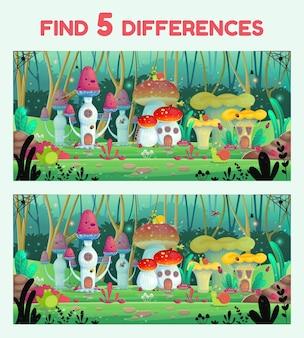 Zoek 5 verschillen, spel voor kinderen, vectorillustratie. paddestoelen huizen.