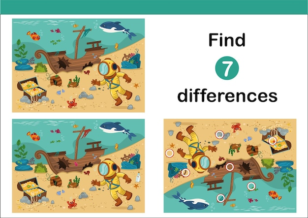 Zoek 7 verschillen onderwijsspel voor kinderen duiker met piratenkist in cartoonstijl