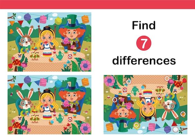 Zoek 7 verschillen onderwijsspel voor kinderen puzzelspel voor kinderen alice in wonderland-stijl