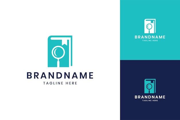 Zoek boek negatieve ruimte logo-ontwerp