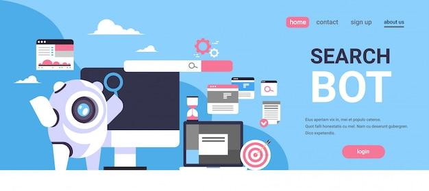 Zoek bot seo engine optimalisatie applicatie internet zoekconcept kunstmatige intelligentie