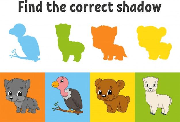 Zoek de juiste schaduw. dierlijke wolf, beer, alpaca. gier van vogels. onderwijs werkblad.