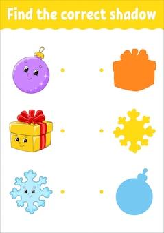 Zoek de juiste schaduw. onderwijs ontwikkelt werkblad. matching game voor kinderen