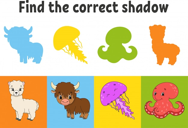 Zoek de juiste schaduw. onderwijs werkblad. alpaca, jakken, kwallen, octopus. matching game voor kinderen.