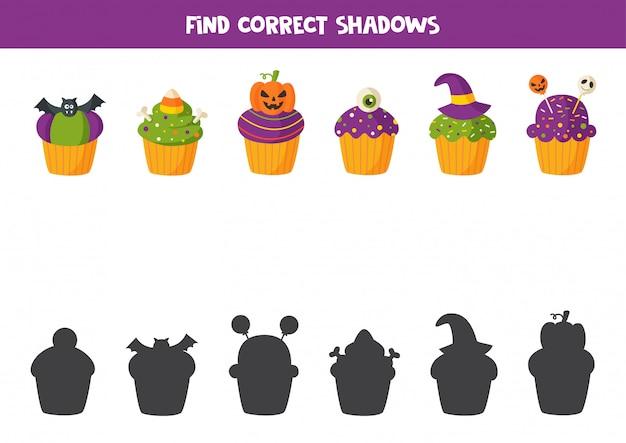 Zoek de juiste schaduw van alle halloween-muffins.
