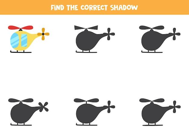 Zoek de juiste schaduw van de helikopter. logische puzzel voor kinderen.