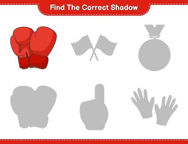 Zoek de juiste schaduw. vind en match de juiste schaduw van bokshandschoenen