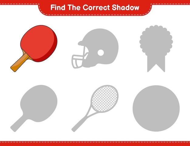 Zoek de juiste schaduw. vind en match de juiste schaduw van ping pong racket