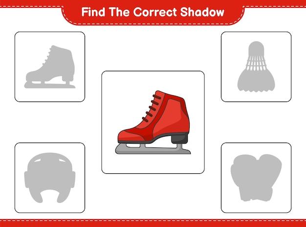 Zoek de juiste schaduw. vind en match de juiste schaduw van schaatsen. educatief spel voor kinderen