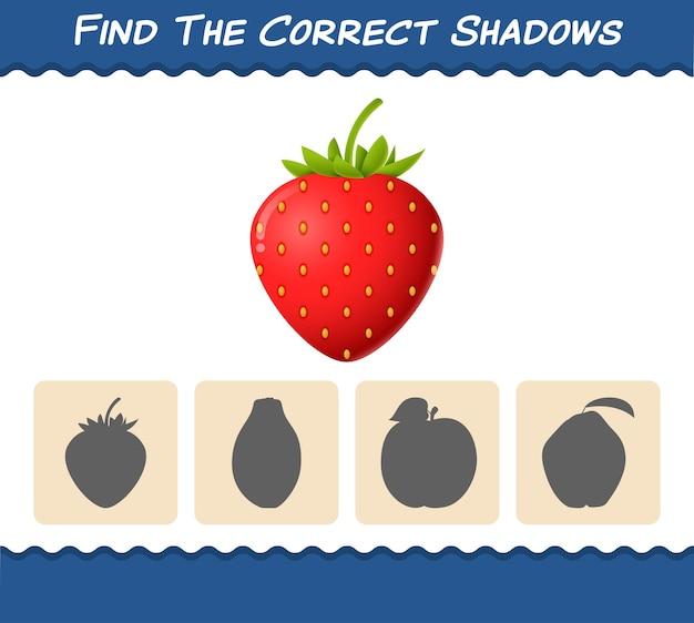 Zoek de juiste schaduwen van cartoonaardbeien. zoek- en matchspel. educatief spel voor kleuters en kleuters