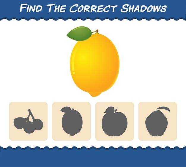 Zoek de juiste schaduwen van cartooncitroenen. zoek- en matchspel. educatief spel voor kleuters en kleuters