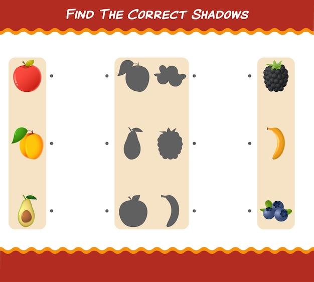 Zoek de juiste schaduwen van cartoonfruit. zoek- en matchspel. educatief spel voor kleuters en kleuters