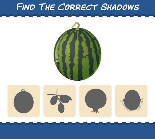 Zoek de juiste schaduwen van cartoonwatermeloenen. zoek- en matchspel. educatief spel voor kleuters en kleuters