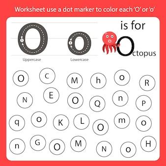 Zoek de letter werkblad gebruik een puntmarkering om elke o te kleuren
