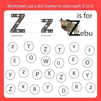 Zoek de letter werkblad gebruik een puntmarkering om elke z te kleuren