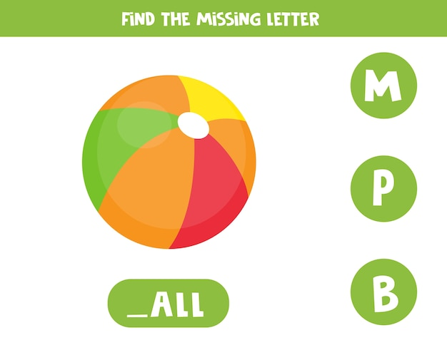 Zoek de ontbrekende brief. educatief spellingsspel voor kinderen. illustratie van schattige kleurrijke stuk speelgoed bal. engels alfabet oefenen. afdrukbaar werkblad.