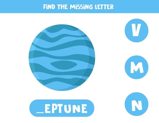 Zoek de ontbrekende cartoon planeet neptunus