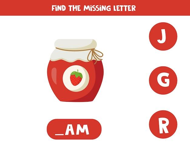 Zoek de ontbrekende letter in het woord. educatief spellingsspel voor kinderen. schattige cartoon pot aardbeienjam. alfabet werkblad voor kleuters.