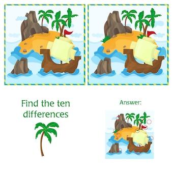 Zoek de tien verschillen tussen de twee afbeeldingen met tropical island en ship