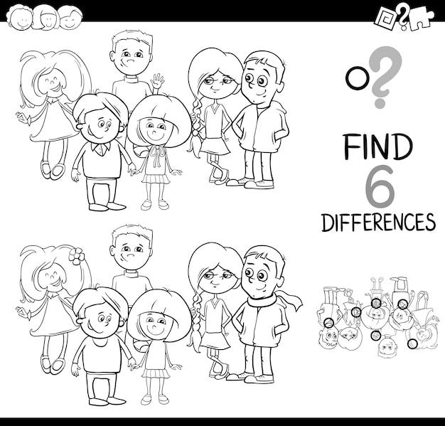 Zoek de verschil kleurplaat