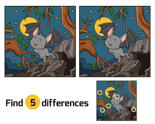 Zoek de verschillen, onderwijsspel voor kinderen. vampiervleermuis en achtergrond