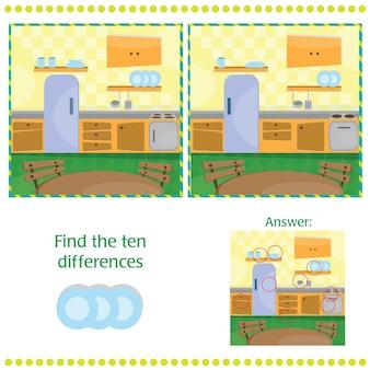 Zoek de verschillen tussen de twee afbeeldingen - keuken
