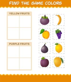 Zoek dezelfde kleuren fruit. zoek- en matchspel. educatief spel voor kleuters en kleuters
