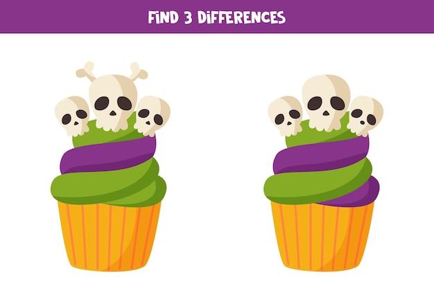 Zoek drie verschillen tussen twee afbeeldingen van halloween-cupcakes.