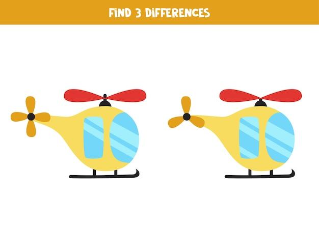 Zoek drie verschillen tussen twee cartoonhelikopters.