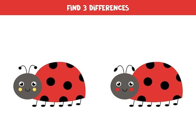 Zoek drie verschillen tussen twee foto's van schattig lieveheersbeestje.