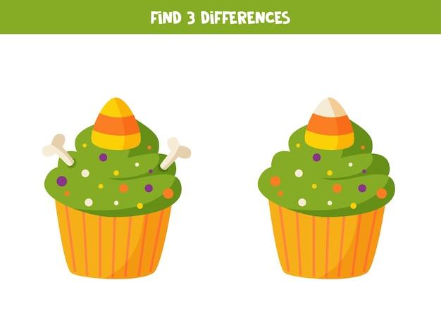 Zoek drie verschillen tussen twee halloween cupcakes.