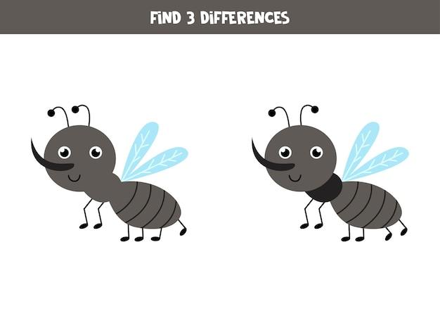 Zoek drie verschillen tussen twee schattige muggen.