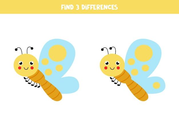 Zoek drie verschillen tussen twee schattige vlinders.